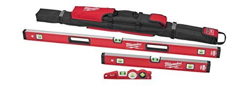 Milwaukee MLBXC48 10 Inch/24 Inch/48 Inch REDSTICK Box and Torpedo Level Set