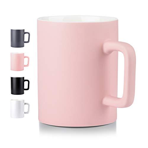 NEWANOVI Keramische Kaffeetasse Kaffeetasse aus Porzellan in matt, Becher mit henkel für Heißgetränke, Kaffee, Tee Milch, Kakao, Keramik Becher, 500ml, Pink