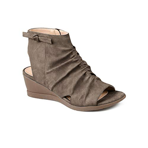 Syktkmx Womens Slouchy Backless Booties Wedge Sandals Open Toe Ruched Low Heel Cutout Zip Up Ankle Boots