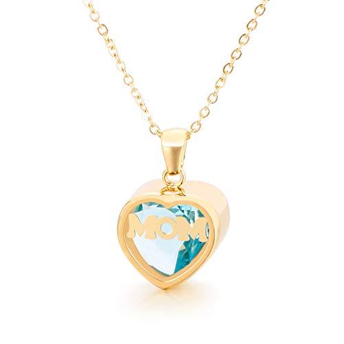 Qings Collar Corazon con Aguamarina Colgante Piedra Regalo para Mama Mujer Día de la Madre