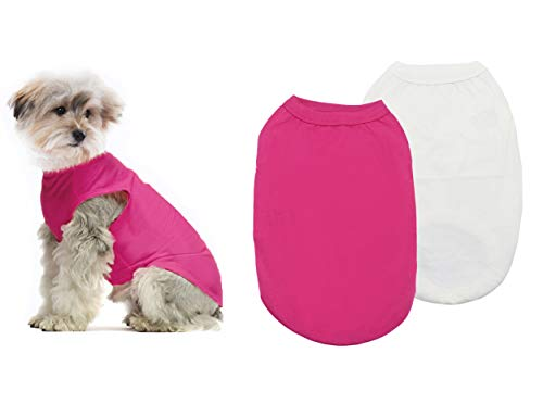 YAODHAOD Ropa de Perro de algodón de Color sólido Camisetas para Perros, Camisetas de algodón Suaves y Transpirables, Ropa para Perros pequeños, medianos, Gatos, 2 Piezas (S, Blanco + Rosa)