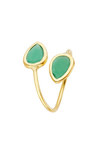 Córdoba Jewels | Anillos en Plata de Ley 925 bañada en Oro con diseño Gotas Esmeralda Gold
