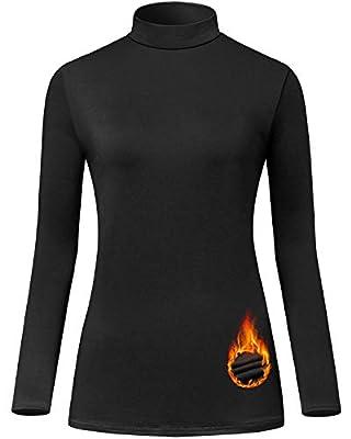 Le Vonfort Thermal Underwear Mock Neck Tops for Women Black Fleece Pullover Active WorkoutShirt Long Sleeve Base Layer