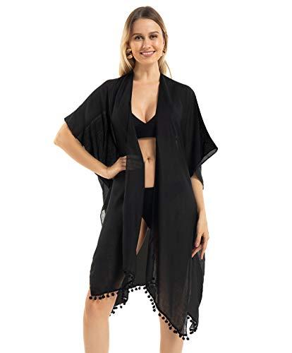 Kimono Femme Plage Gilet Ete, Cache Maillot de Bain en Mousseline, Bohème Élégant Fluide Long Rode Cardigan Veste Grande, Casual Coton Women's Bikini Beach Cover Up, Noir, Taille Unique
