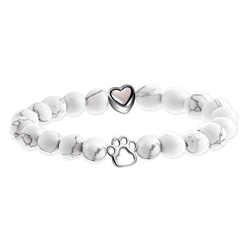 Elegant Chef Pet Memorial Agate Paw Heart Beads Bracelet- Sympathy Gift