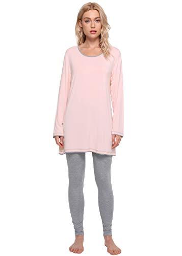 Latuza Women's Long Sleeves Tunic Top Pajamas Leggings Set L LightPink