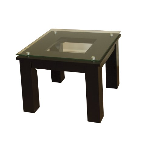Plateau Glass wood Accent Table, Black