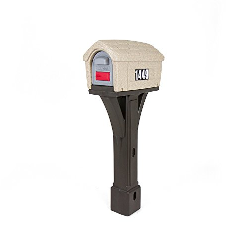 Simplay3 Classic Home Plastic Post Mount Cabin Mailbox - Washed Stone/Espresso