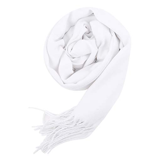 Yinew Einfarbiger Schal Damen Herren Tücher Warm Mode Quaste Loop Winterschal, Weiß,Size