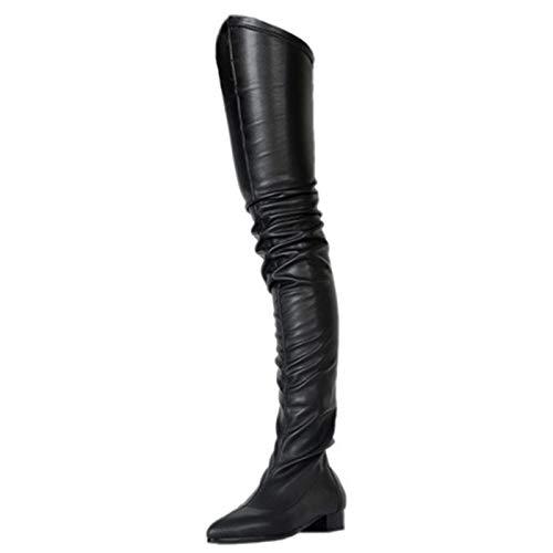 XSY Herbst Spitze Flache Stiefel,Reißverschluss Damen Overknee Boots Pumps Schwarz Damenschuhe Overknees Pump High Heels,Schwarz,44