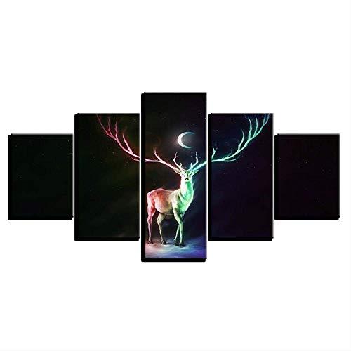 DGGDVP Poster Decor Moderne kamer gedrukt HD canvas 5 stuks abstract Deer en Moon Night Scene Schilderij Wandkunst Modulaire fotolijst 30x40cmx2 30x60cmx2 30x80cmx1 Frame