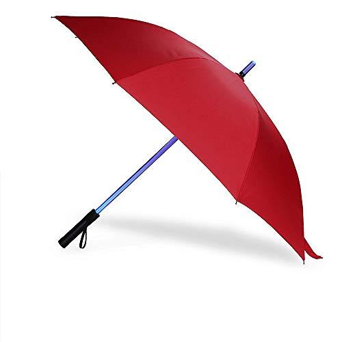 ProProCo LED Regenschirm - Leuchtender Automatik Regenschirm - Hochwertiger Winddichte und Sturmfester Stockschirm mit Taschenlampe - Wasserdichter Prongee Regenschirm Damen und Herren (Rot)