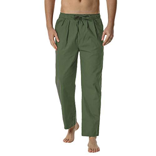 Litthing Pantalones del para Hombres,Pantalones Casuales Flojos de Yoga,Pantalones Elásticos Ligeros de la Cintura para Hombre, Ajuste Holgado, Pantalones de Yoga y Playa (Verde, XL)