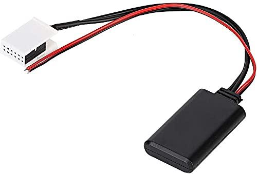 Qiilu Módulo Bluetooth AUX para automóvil, Tierra 12V Adaptador AUX Bluetooth para vehículo de 12 Pines Apto para MCD RNS 510 RCD 200210300310500510