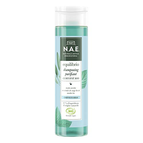 N.A.E. - Shampooing Purifiant Cheveux Gras - Certifié Bio - Extraits de Sauge Bio et de Menthe Bio - Formule Vegan - 97 % d'ingrédients d'origine naturelle - Contenant de 250 ml