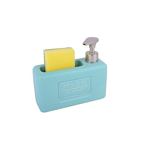 KOOK TIME Dispensador de jabón líquido para Cocina Wash con Estropajo – Cerámica/ABS (Verde Nórdico Mate)