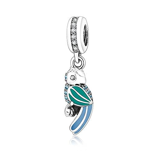 LIIHVYI Pandora Charms para Mujeres Cuentas Plata De Ley 925 Loro Tropical Fino Compatible con Pulseras Europeos Collars