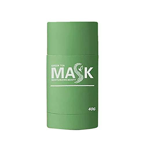Green Tea Purifying Clay Face Mask Stick Masque de Points Noirs de thé Vert et Anti-acné, Nettoie En Profondeur Les Pores Améliore la Peau pour Les Femmes Hommes