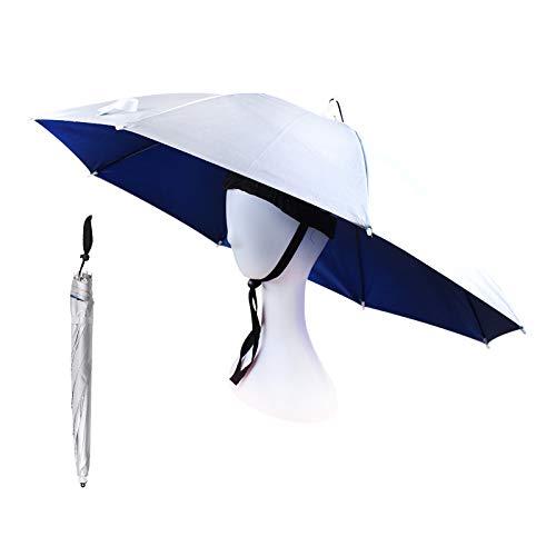 OMUKY Kopf Regenschirm Faltbarer Regenschirmhut UV Schutz Sonnenschirm Hut angelschirm klein für Damen Herren Golf, Angeln, Gartenarbeit,Fotografie,Wandern(Silber, 1 Stück)