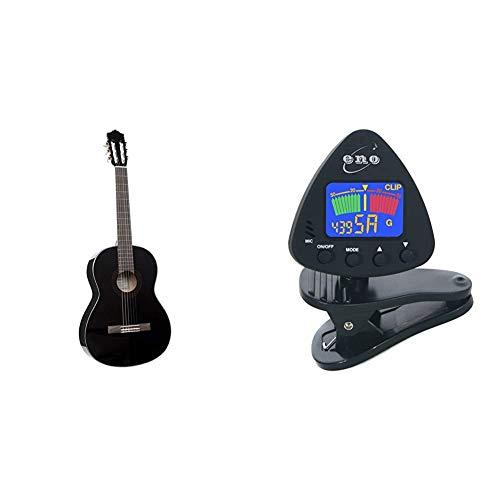 """Yamaha C40 II Guitarra Clásica Guitarra 4/4 de madera, 65 cm 25 9/16"""" + Eno Clip para afinador de guitarra y ukelele, Sintonizador de bajos y violín, Sintonizador cromático con batería incluida"""