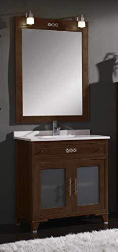 ARTEMA Mueble de baño con Lavabo y Espejo con luz (80 CM). 1 cajón y 2 Puertas. Estilo clásico, Color Wengué. Mod. Hermes