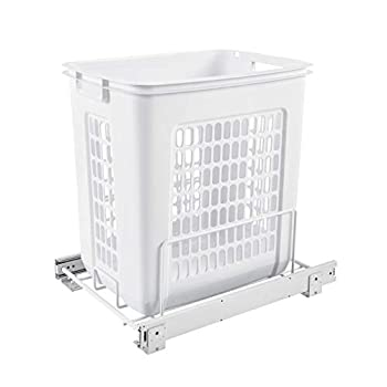 Rev-A-Shelf HPRV-15020 S Large 20-Inch Deep Cabinet Floor Steel Mounted Pullout Polymer Plastic Clothes Laundry Hamper w/ Full Extension Slides White