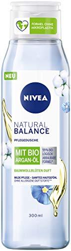 Nivea Duschgel Natural Balance mit Baumwollblüten-Duft und Bio Argan-Öl (300 ml), Pflegedusche ohne allergene Duftstoffe, vegane Dusche für trockene und sensible Haut