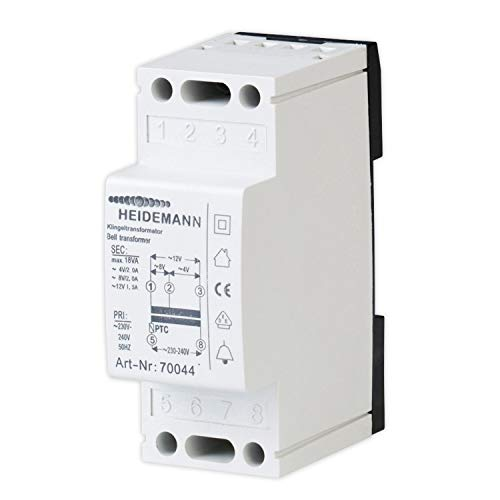 Heidemann 70044 Klingel-Transformator 4 V/AC, 8 V/AC, 12 V/AC 2 A