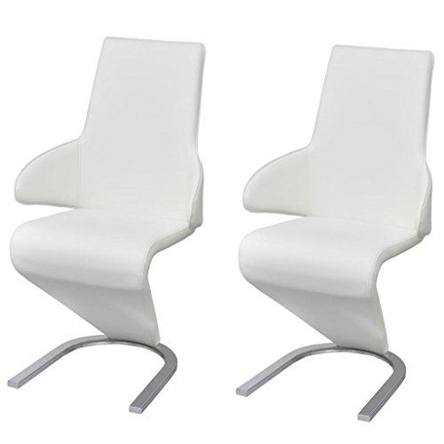 vidaXL 2X Sillas de Salón Modernas Comedor Voladizas Cuero Artificial Blancas