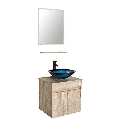 24 Wall Mounted Bathroom Vanity and Sink Combo,Natural Color Vanity Set,Ocean Blue -