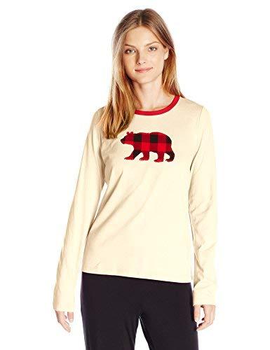 Hatley Little Blue House by Long Sleeve Pajama Tees Camiseta de Pijama, Buffalo Plaid Bear, Pequeño para Mujer