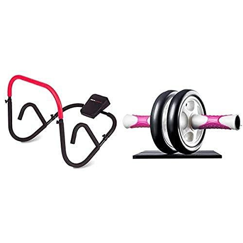 Ultrasport AB Trainer, aparato abdominal profesional para entrenar en casa con intensidad los músculos abdominales + Aparato de abdominales AB Roller / AB Trainer con esterilla para las rodillas