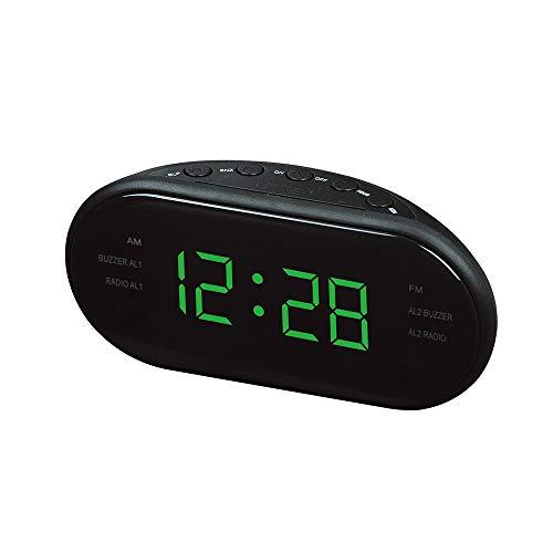 LHTCZZB Reloj Digital LED + Am/FM FRECUENCIA DE FRECUENCIA Radio BATERÍA Vida en la batería Recargable Reloj de Alarma portátil ABS Material Adecuado para la Oficina de Dormitorio del Dormitorio Dom
