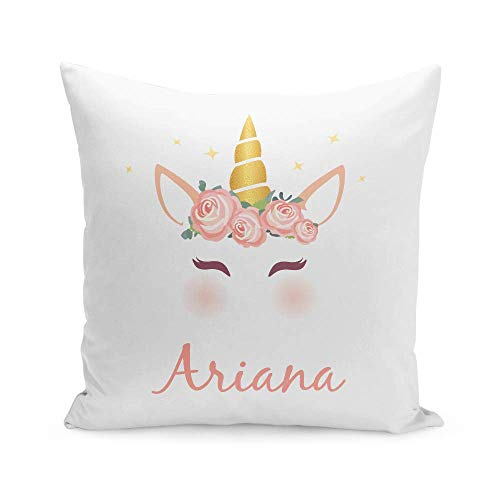 Tee Monkey Personalised Name Unicorn 11 Small Cushion With Insert White Girls Bedroom Custom Name Gift