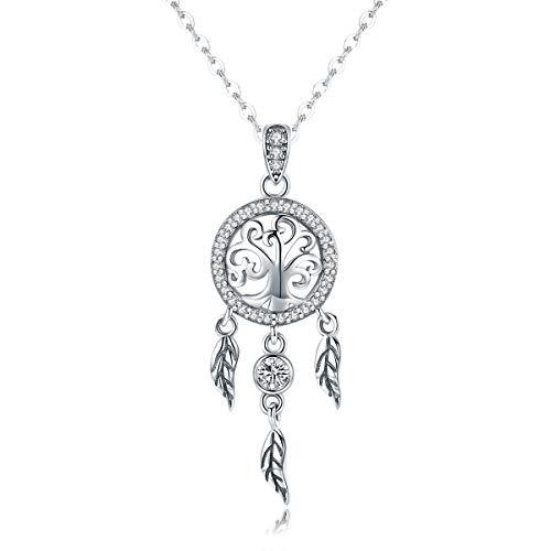 Shysnow Silber 925 Kette Damen Lebensbaum Halskette Traumfänger Familien Stammbaum Anhänger
