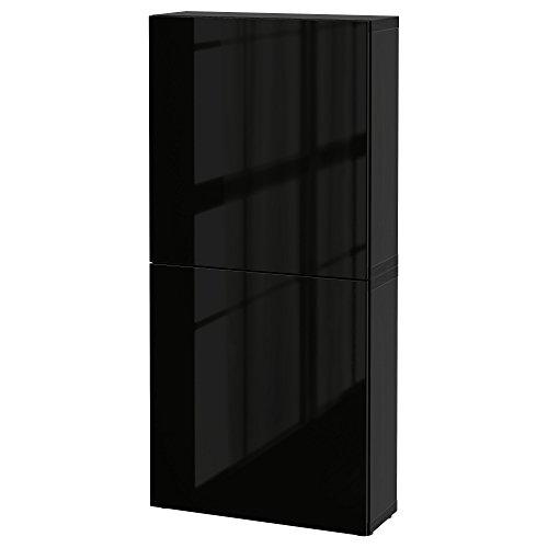 Zigzag Trading Ltd IKEA BESTA - Armario de Pared con 2 Puertas Negro-marrón/selsviken de Alto Brillo/Negro