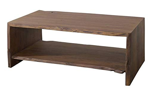 Table basse 120x70cm - Bois massif d'acacia laqué (Brun classique) - Design naturel - PURE ACACIA #008