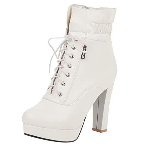 Yowablo Stiefel Frauen Winter High Heel Warme Schnürschuhe Elastische Stiefel Dicke Schuhe (37,Weiß)