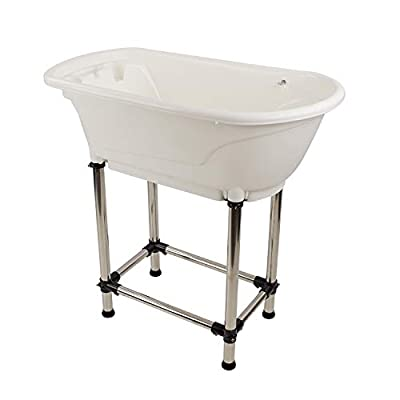MiMu Elevated Dog Bathing Tub Pet Grooming Station - White Plastic Grooming Tub for Small and Medium Sized Pets