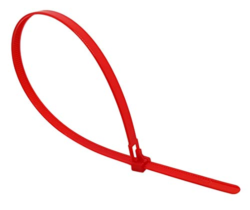 intervisio Kabelbinder Wiederverschließbar, 200mm x 7,6mm, 100 Stück, Rot, Wiederlösbar, Wiederverwendbar