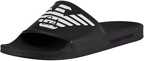 Emporio Armani Herren Pop Contrast Slides Sandalen zum Reinschlüpfen, schwarz/weiß, 39.5 EU