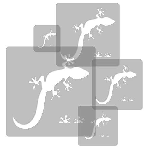 5 Stück wiederverwendbare Kunststoff-Schablonen // EIDECHSE - GECKO // 34 x 34 cm bis 9 x 9 cm // Kinderzimmer-Deko // Kinderzimmer-Vorlage