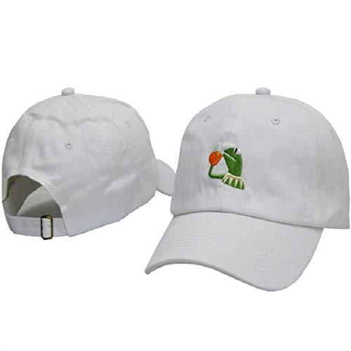 QIANWEIXI Baseball Cap Herren Weißer Gestickter Bier-Vati-Hut Für Frauen Kermit Keiner Meiner Geschäfts-Baseballmütze-Hip Hop-Baumwolle Justierbare Traurige Vati-Hut-Männer
