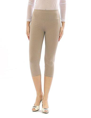 yeset Damen Capri 3/4 Leggings Leggins Baumwolle Hose Wäsche hoher Bund beige L