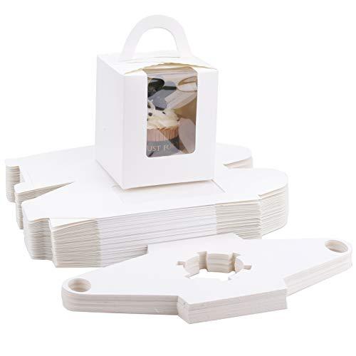 CHLORIS 50 cajas individuales para cupcakes de color blanco con asa para colocar en panadería y fiestas