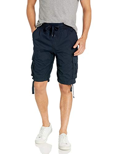 Southpole Men's Jogger Shorts with Cargo Pockets in Solid and Camo Colors, New Navy(New), Large