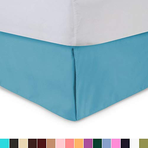 Harmony Lane Tailored Bed Skirt - 21 inch Drop, Aqua, Twin Bedskirt with Split Corners (Available in and 16 Colors)