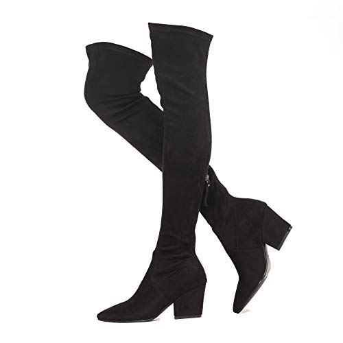 Shoe'N Tale Women's Chunky Heel Back Zipper Sexy Pointed Toe Over The Knee Thigh High Boots(8.5,Black)