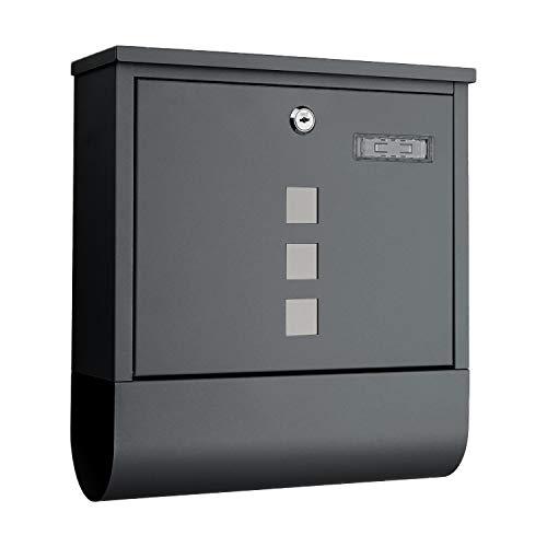 1PLUS Briefkasten Postkasten Wandbriefkasten mit Zeitungsrolle/Zeitungsfach mit schützender Beschichtung (mit Namenschild, anthrazit)