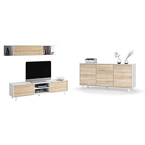 Habitdesign Mueble de salón, Comedor, Módulo TV + Estante + Aparador, Buffet, Salón Comedor 3 Puertas